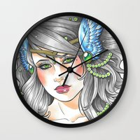 goddess Wall Clocks featuring Goddess by Little Lost Forest