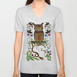 Vibrant Jungle Owl and Snake Unisex V-Neck