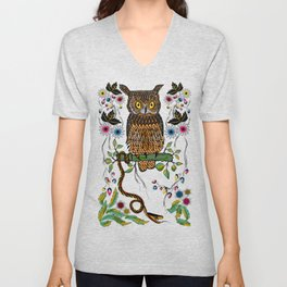 Vibrant Jungle Owl and Snake Unisex V-Neck