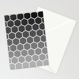 Black and gray gradient honey comb pattern Stationery Cards