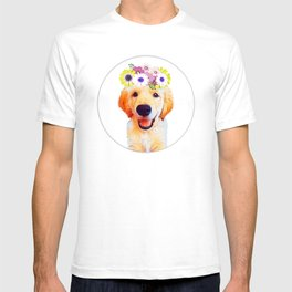 Cute puppy with flowers T-shirt