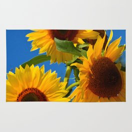 Three bright sunflowers Rug