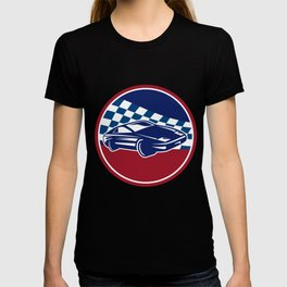 Sports Car Racing Chequered Flag Circle Retro T-shirt