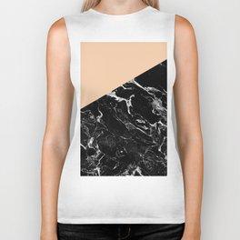 Modern elegant peach black marble color block Biker Tank