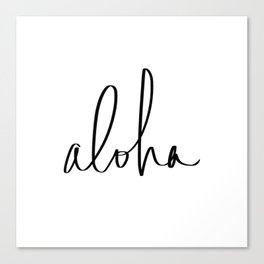 Aloha Hawaii Typography Canvas Print