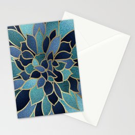 Festive, Floral Prints, Navy Blue, Teal and Gold Stationery Cards