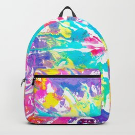 Crazy Multi Color Bomb // Rainbow Tie-dye Abstract Hand Painted Acrylic Watercolor Colorful Splatter Backpack