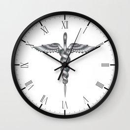 Caduceus Medical Symbol Wall Clock