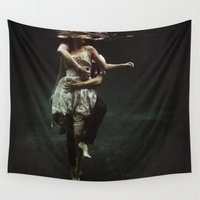 woman Wall Tapestries featuring abyss of the disheartened : V by Heather Landis