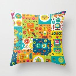 Robot Cheater Quilt Pattern Orange Blue Green Throw Pillow