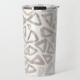Neutral Grey Triangle Pattern Travel Mug