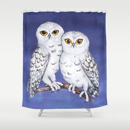 Two lovely snowy owls Shower Curtain