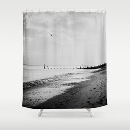 black and white Southwold beach photograph Shower Curtain
