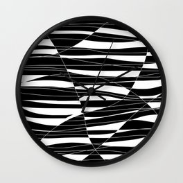 Carved Black and White Wave Wall Clock