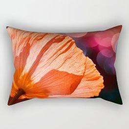 Catch the Light & Throw it Back - orange poppy macro with bokeh Rectangular Pillow