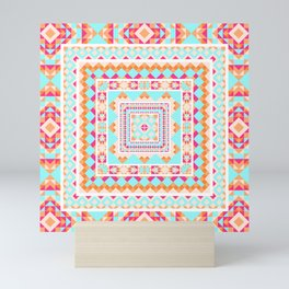 Ethnic geometric pattern with elements of traditional tribal folk style. Mini Art Print