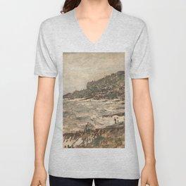 Claude Monet - Falaise de Sainte-Adresse, temps gris.jpg Unisex V-Neck
