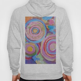 SPACE OF JOY Rainbow Circles Colourful Modern Abstract Painting Pink  Blue Purple Red Hoody