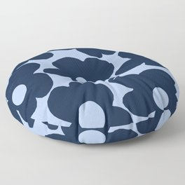 Large Dark Blue Retro Flowers Baby Blue Background #decor #society6 #buyart Floor Pillow