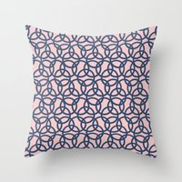Olympic Navy on Blush Throw Pillow
