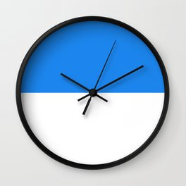 White and Dodger Blue Horizontal Halves Wall Clock