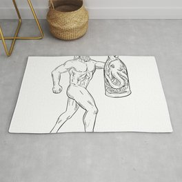 Hercules With Bottled Up Angry Octopus Drawing Black and White Rug