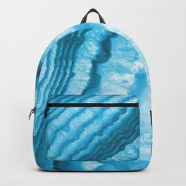 Blue & White Geode Rock Agate Slice Backpack