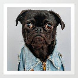 Cute Black Dog - Face Portrait Art Print