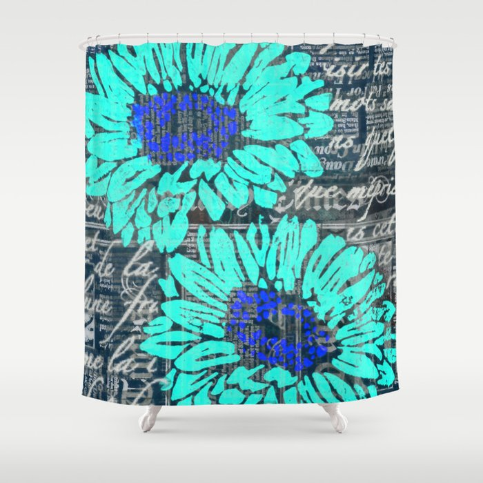 Teal Gerbera Daisy Shower Curtain By Stacyola