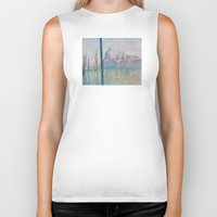 monet Biker Tanks featuring Claude Monet - Le Grand Canal by Elegant Chaos Gallery