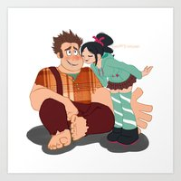 wreck it ralph Art Prints featuring Ralph & Vanellope by Violet's Corner