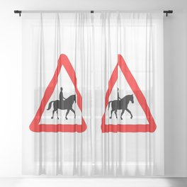 Horse and Rider Traffic Sign Isolated Sheer Curtain