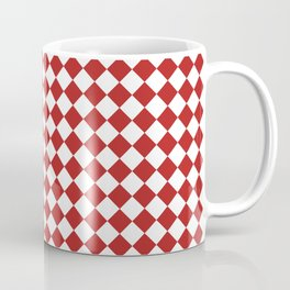 Small Diamonds - White and Firebrick Red Coffee Mug