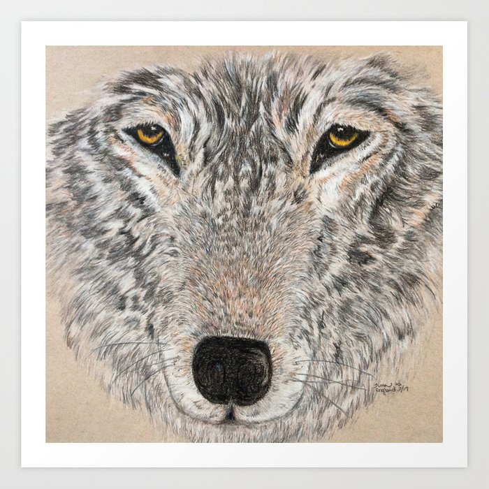 Abstract Wolf Art Print By Tinaengland