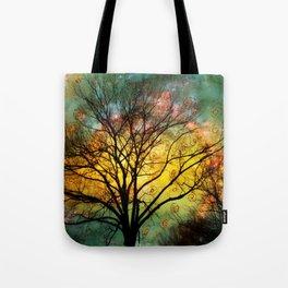 Golden Sunset Treescape Tote Bag