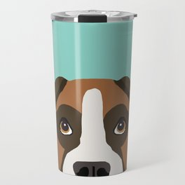 Boxer pet portrait cute dog lover rescue dog lover Boxer portrait dog breeds Travel Mug