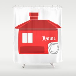 Red House Logo Style Shower Curtain