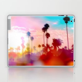 palm tree with sunset sky and light bokeh abstract background Laptop & iPad Skin