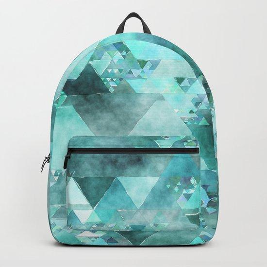 Triangles in aqua - Modern turquoise green blue triangle pattern Backpack