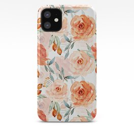 Living Coral Autumnal Roses iPhone Case