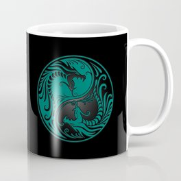 Teal Blue and Black Yin Yang Dragons Coffee Mug
