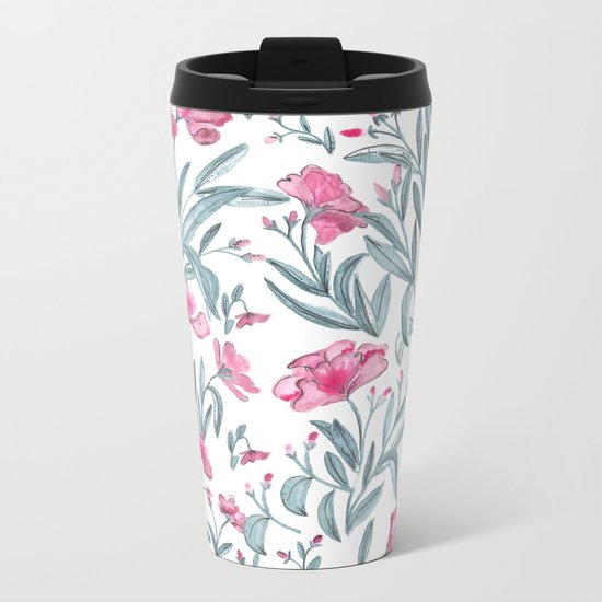 Nerium Oleander Pattern Metal Travel Mug