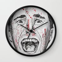american psycho Wall Clocks featuring American Psycho by Haley Erin