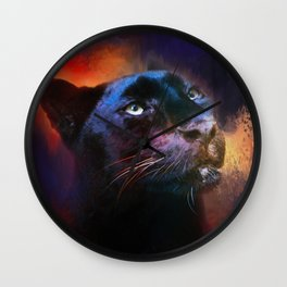 Colorful Expressions Black Leopard Wall Clock