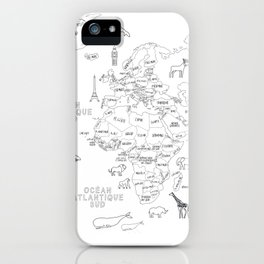 Carte du monde en image, en français iPhone Case