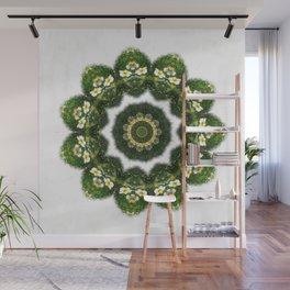 Little White Wildflower Kaleidoscope Art 4 Wall Mural