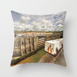 Bude Canal Lock Throw Pillow