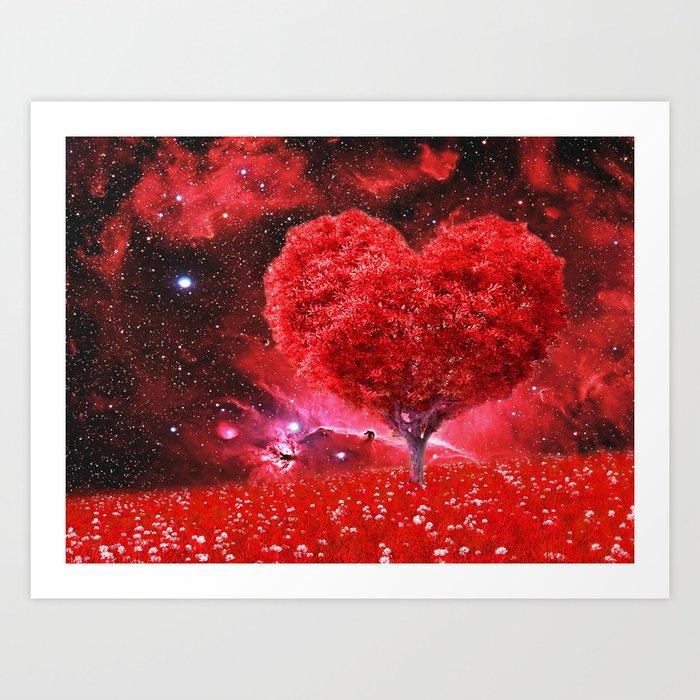 Cosmic love tree Art Print