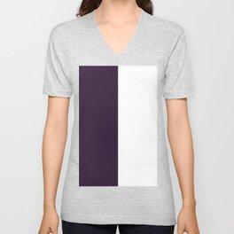White and Dark Purple Vertical Halves Unisex V-Neck