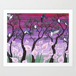 calla lilies & tree swallows Art Print